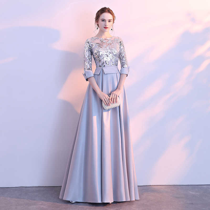 7504dcef51ca6 WEIYIN 2019 New Evening Dress The Banquet Elegant Gray and Navy Blue 3/4  Sleeves Satin Sequins Long Party Formal Gown