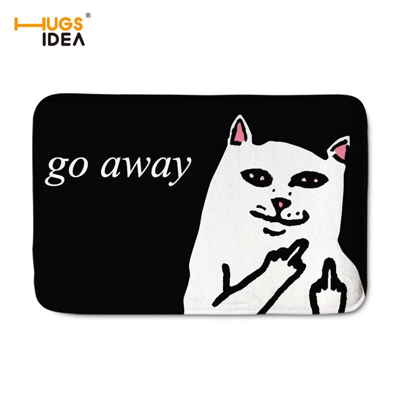 HUGSIDEA Cute 3D Cat Go Away Floor Carpets Rugs Bathroom & Kitchen