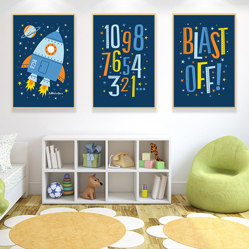 Elegant Poetry Blue Cartoon Boys Space Rocket A4 Canvas Art Painting Print Poster Picture Wall Baby Dream Bedroom House Decor