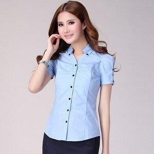 Image 3 - Hot female summer short sleeve women shirt work wear OL formal casual plus size blouse Slim V stand collar office top S XXXL