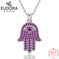 Eudora Real 925 Sterling Silver Hamsa Hand Pendant Necklaces Pink Zircon Fashion Jewelry for Women Girls Gift 2019 New Arrival