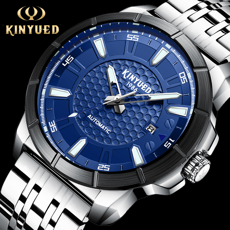 kinyued brand men s watches automatic mechanical watch men sport military wrist watches man stainless steel black clock relojes KINYUED Luxury Men Watches Automatic Stainless Steel Clock Fashion Men Watch Military Mechanical Dress Relogio Masculino