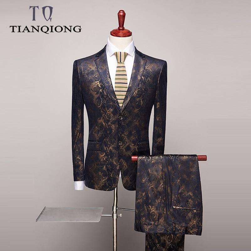 Mens Floral Print Suits Luxury Boutique Suit Man Wedding Elegant Prom Party Wear Tuxedo Mens Suits Jacket With Pants S-4xl