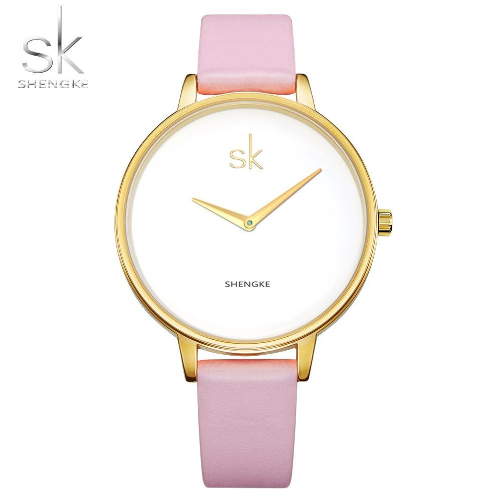 Shengke New Fashion Romantic Women Watches Female Luxury Quartz Watch Ladies Leather Dress Wristwatch Montre Femme Reloj Mujer assets® red hot label бельевая майка