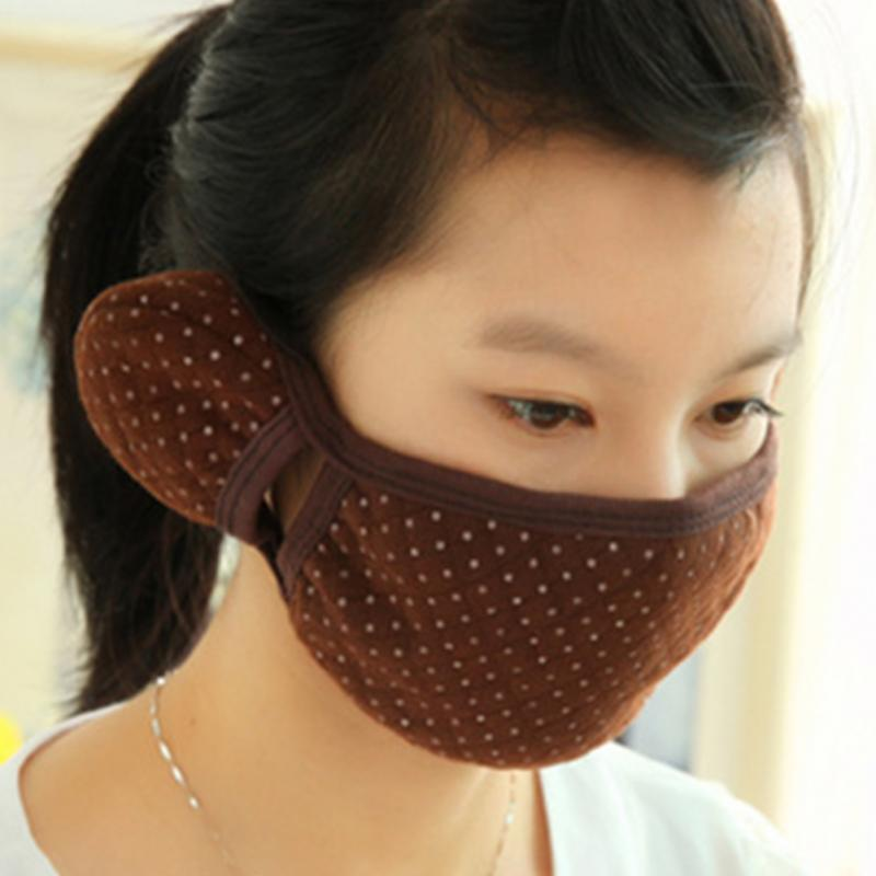 Fashion 2 in 1 Cotton Mask With Earmuffs Dual Protector Anti-Dust&Storm Mouth Mask Thick Windproof Mouth-muffle
