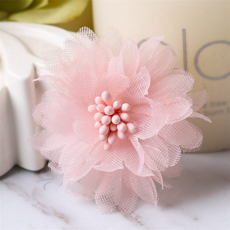 50pcs lot 8colors 4cm Handmade Pretty Chiffon Flowers for Beach Shoes Kids Girls Headbands DIY Ornaments Hair Decorative Crafts in Hair Accessories from Mother Kids