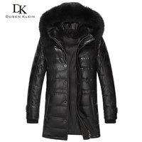 Dusen Klein Brand long down coats men Real sheepskin 90% duck down Slim style fox collar winter leather jacket 61L1568