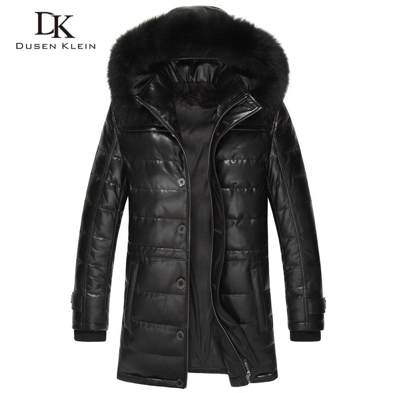 Dusen Klein Brand largo abrigos abajo hombres Real piel de oveja 90% pato abajo Estilo delgado cuello de zorro chaqueta de cuero de invierno 61L1568