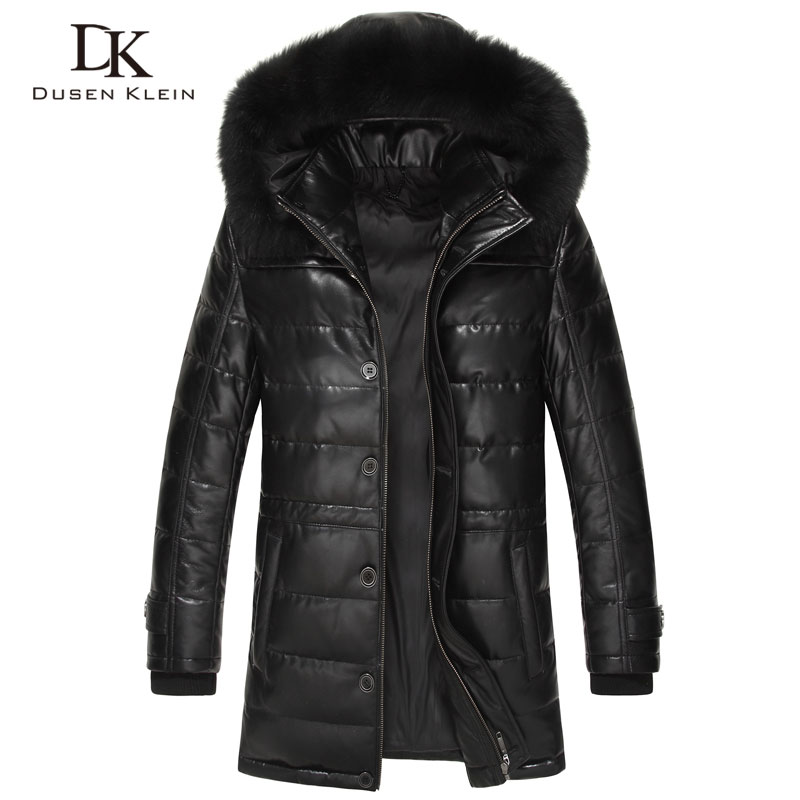 Dusen Klein Brand long down coats men Real sheepskin 90% duck down Slim style fox collar winter leather jacket 61L1568 image