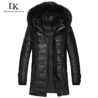 2016 Brand Long Down Coats Men Real Sheepskin Duct Down Slim Style Fox Collar Winter Leather