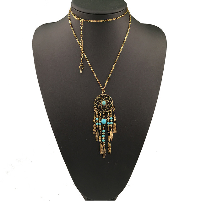 Goldsilver bohemia hollow out leaves leaf dream catcher ethnic goldsilver bohemia hollow out leaves leaf dream catcher ethnic green stone dreamcatcher pendant necklace mozeypictures Images