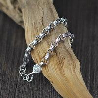 Thai Silver Bracelets Bangles Genuine 925 Sterling Silver Mens Jewelry Bracelets For Men Male 5 6MM