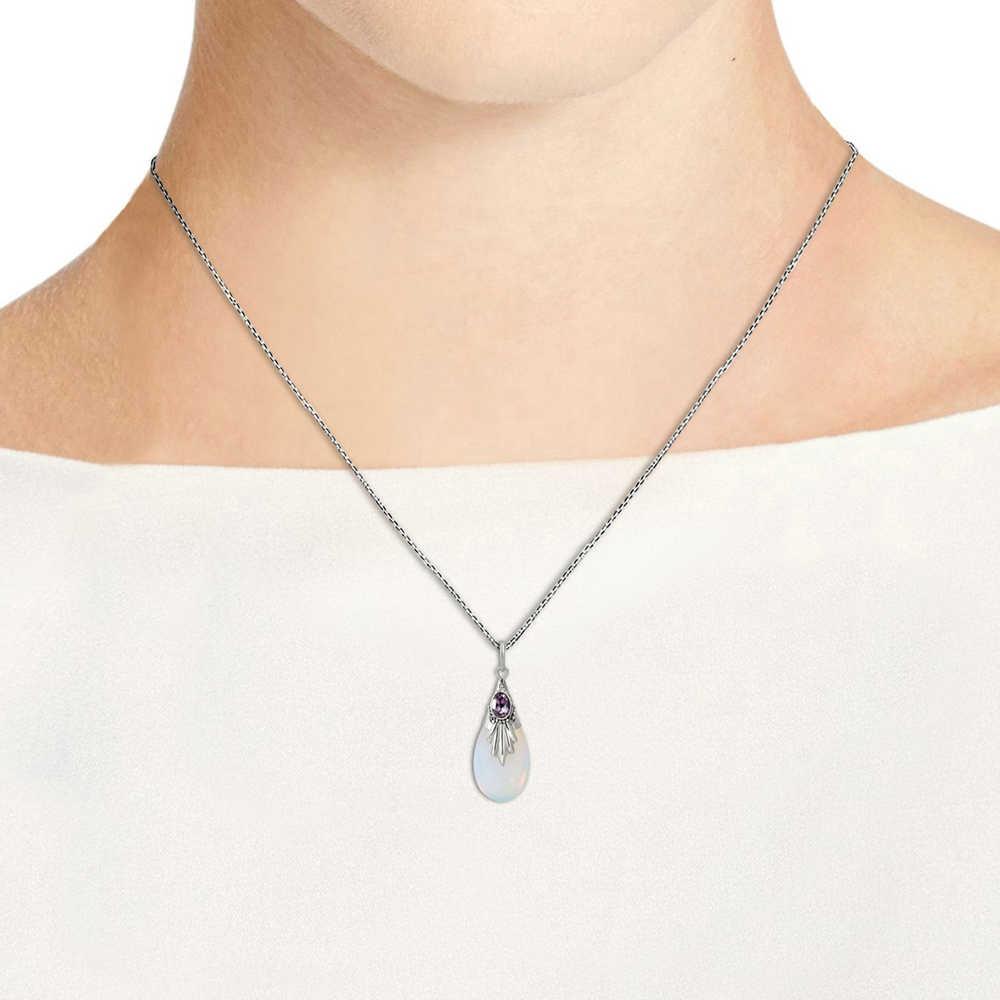 Nouveau Design offre spéciale larme Semi-précieuse pierre de lune pendentif collier pour les femmes Zircon couleur argent bijoux de mode KAN195