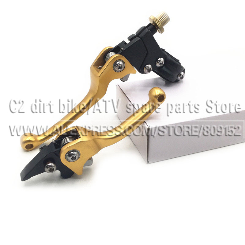 ASV Clutch and Brake Folding Lever Fit Most Of Motorcycle Dirt Pit Bike Motorcross CRF KLX YZF RMZ Free Shipping Gold Colour