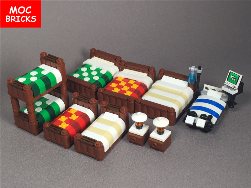 5pcs Lot Moc Bricks Diy Colorful Decoration Furniture Double Bed Single Bed Bunk Beds Operating Bed Building Blocks Figure Gifts Blocks Aliexpress
