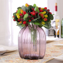 1PCS (1pcs=9 heads) fruit decoration Artificial plant flower silk paddle strawberry photo props P20