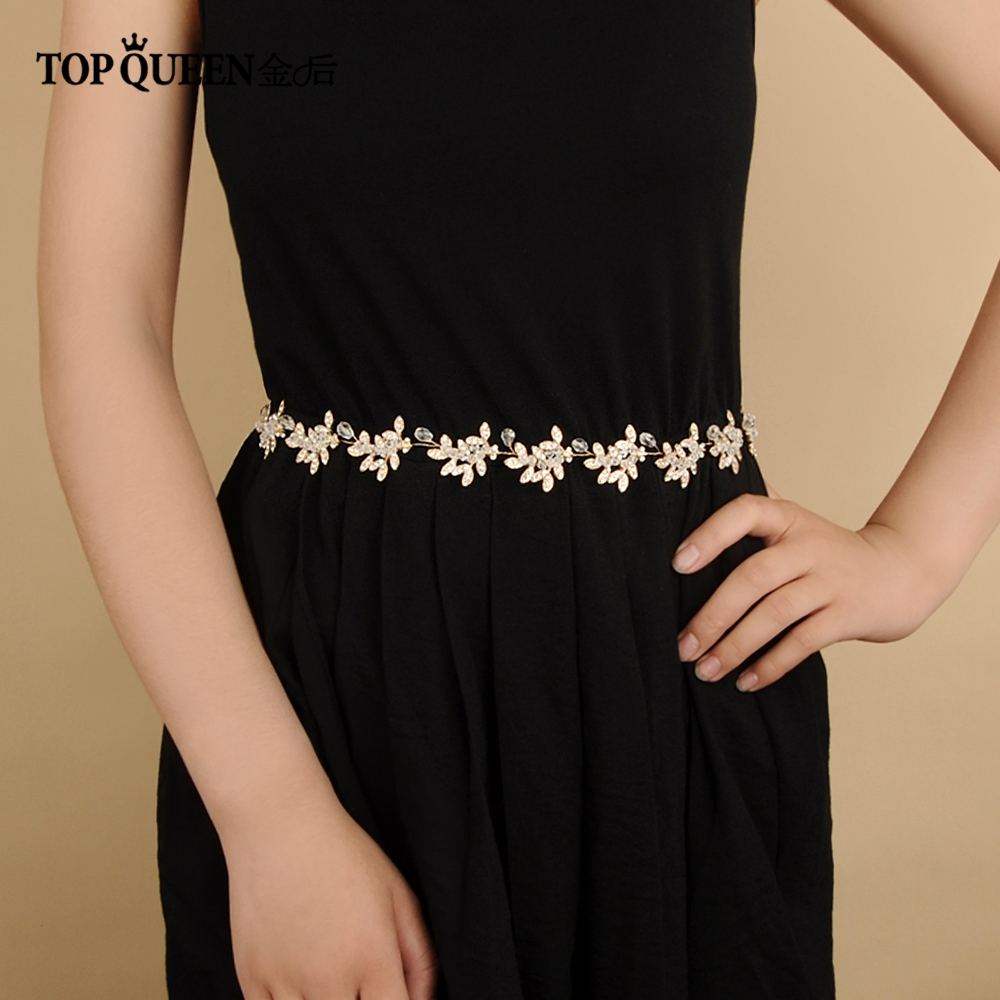 TOPQUEEN SH107 Bridal Belts With Diamond Wedding Sash Belt For The Bride Wedding Accessories Thin Belts For Night Dress