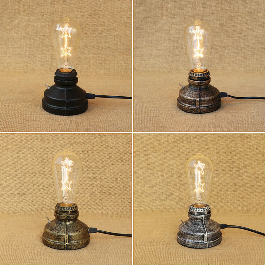 4 kinds industrial retro water pipe table lamp creative for Nachttischlampe vintage