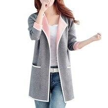 Long Sweaters  Women New Autumn All-match Patchwork Full sleeve Slim Pocket Knitted Cardigan Sweater M-XXXL цены онлайн
