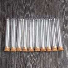 100pcs/lot Transparent Plastic Test Tube With Cork Stoppers Round Bottom 15x100mm School Laboratory Educational Supplies