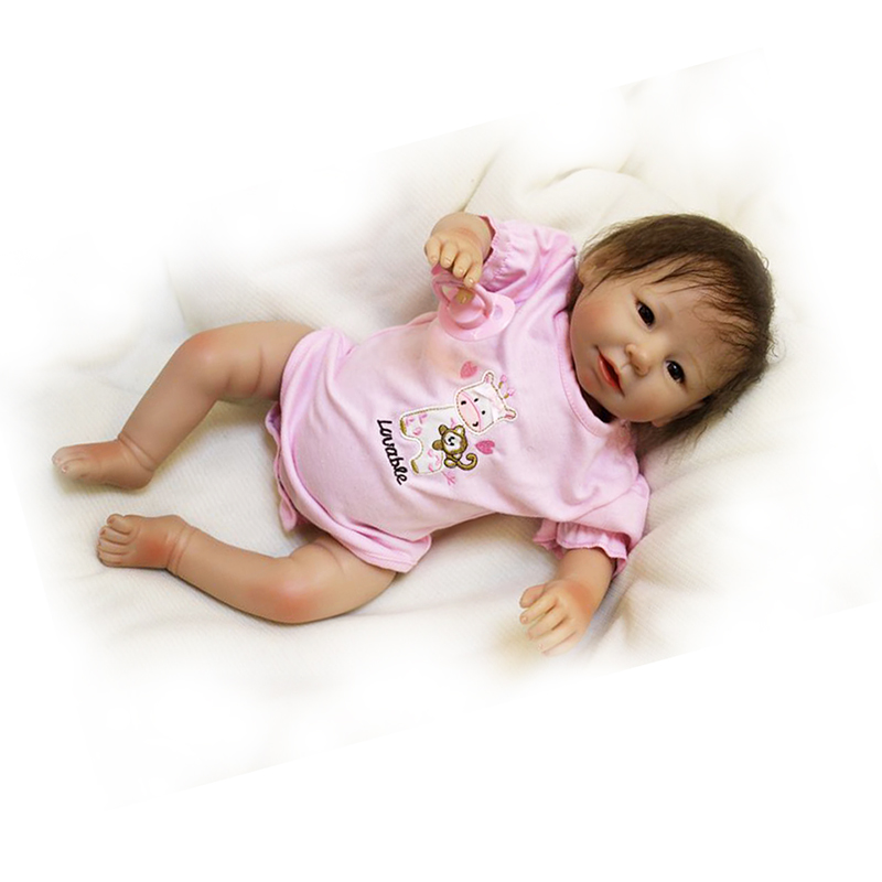 Lovely 20 Inch Reborn Soft Silicone Babies Model Toy Dolls Lifelike Smile With Hair Reborn Baby Doll Need Hug Kits Playmates Hot