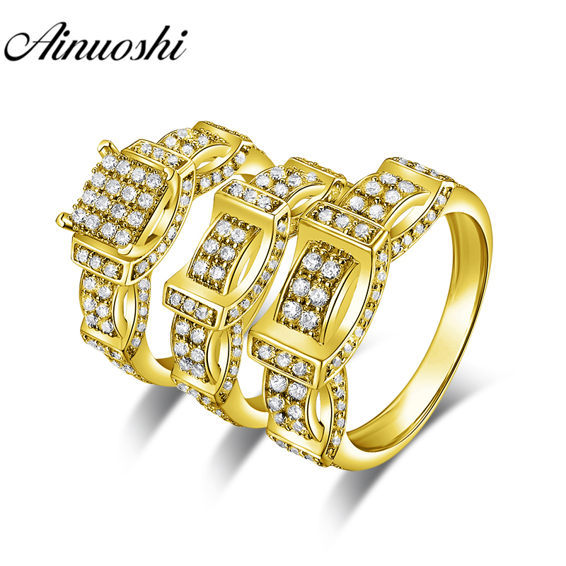 AINUOSHI Real Gold TRIO Rings Set Engagement Jewelry 10K Solid Yellow Gold Couple Wedding Rings Men Band Curved Cluster Ring SetAINUOSHI Real Gold TRIO Rings Set Engagement Jewelry 10K Solid Yellow Gold Couple Wedding Rings Men Band Curved Cluster Ring Set