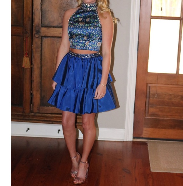 51040 Halter Printed 2pc Beaded Short Homecoming Dress A Line Tiered Taffeta Cocktail Pageant Gown
