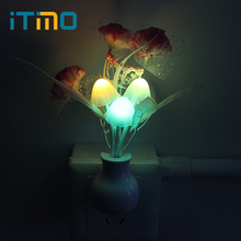 Mushroom Flower Plant LED Night Light Lamp Colorful Nightlights Lilac Luminaria US Plug Hot Sale Light Sensor Novelty Romantic