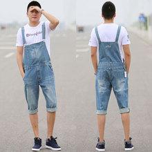 Mens Fashion Bib Denim Overalls Shorts Men Summer Knee Length Jeans Shorts Plus Size S-XXXL 4XL 5XL