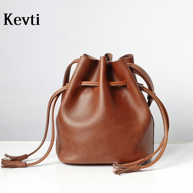 KEVTI Brand Genuine Leather Women Shoulder bag Cowhide Vintage effect Bucket shaped handbag Female crossbody bags for Teenagers  kevti brand genuine leather women handbag high quality cowhide female shoulder bags casual crossybody bag european style hobos