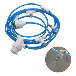DIY Garden Drip Irrigation System Low Pressure Misting Nozzles Kits 5m PU Tube Micro-filter With Slip Lock Tees