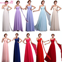 Long Chiffon Bridesmaid Lace Up Back Royal Blue A Line Bridemaids Dresses Fuschia Hot Pink One