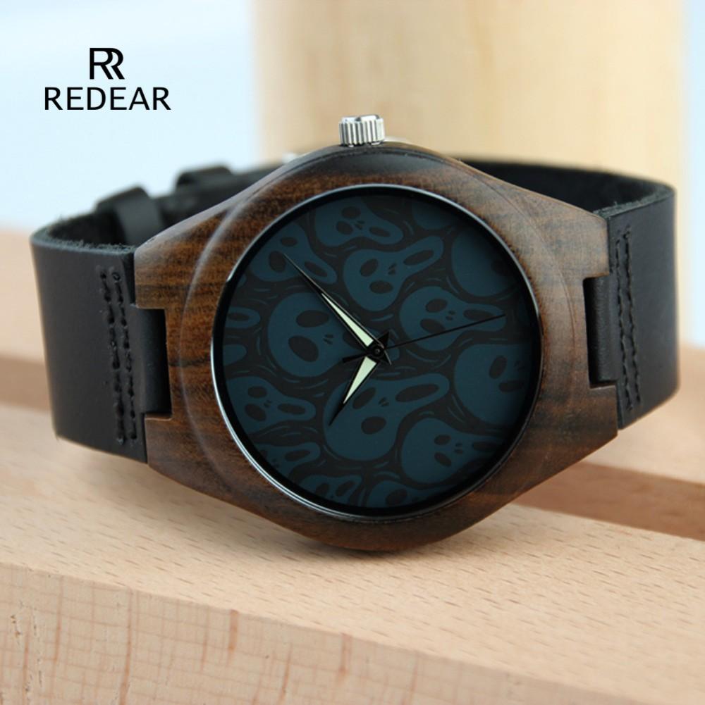 2f96d65dbbf Alta qualidade preto sandalwood relógio relógio causal couro genuíno ...