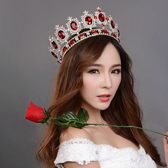 big European royal crown golden rhinestone imitation ruby tiara super large quinceanera crown wedding hair accessories crown