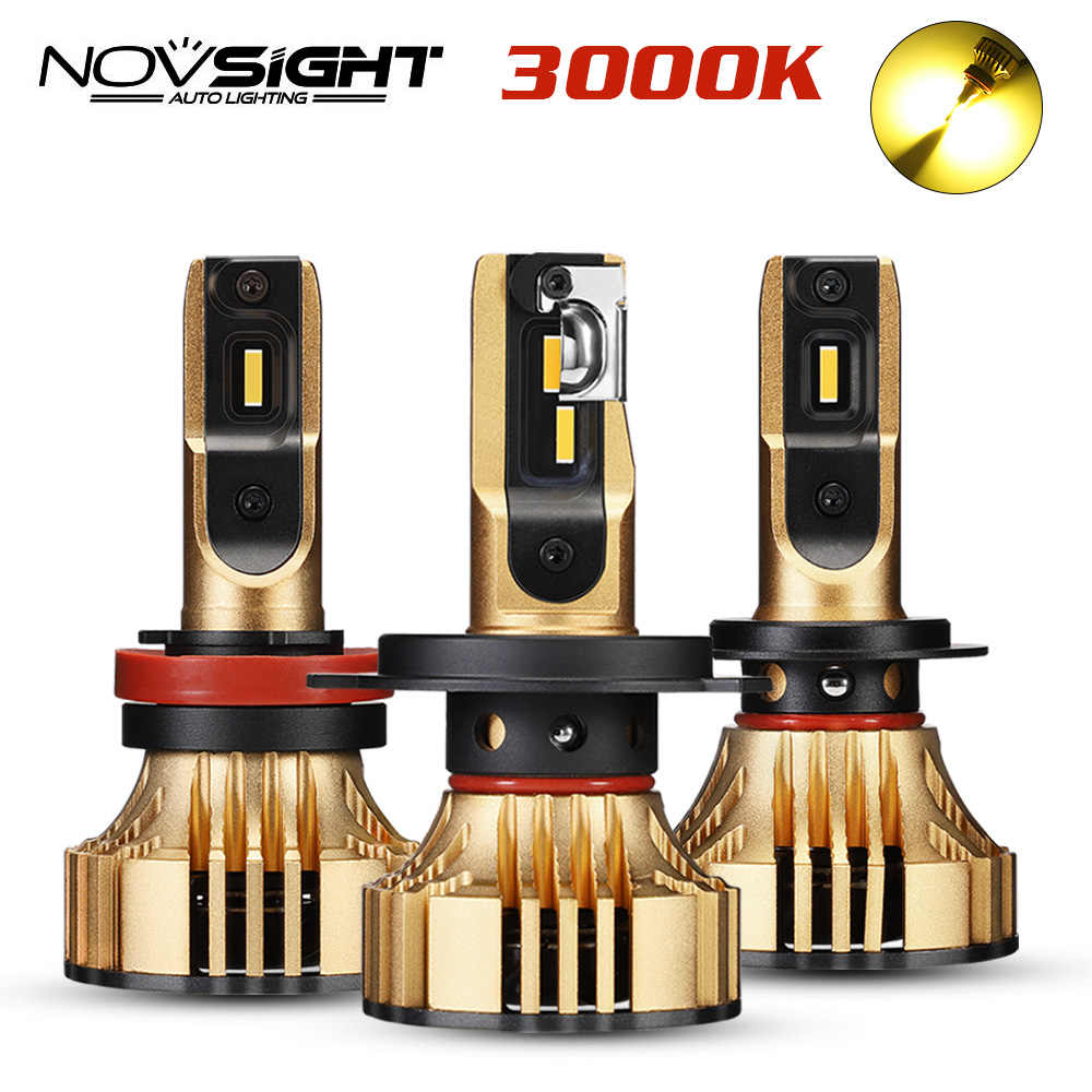 NOVSIGHT H4/9003/HB2 9007/HB5 9008/H13 Hi/Lo Beam LED Car Headlight Bulbs 72W 12000LM 3000K Golden Yellow Car Automotivo Lamps