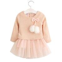 0-2Y Dài Tay Áo Dệt Kim Bé Gái Dresses Chất Lượng Cao Trẻ Sơ Sinh Mềm Mại Ăn Mặc Quần Áo Toddler Chúa Dresses Bông Outwear