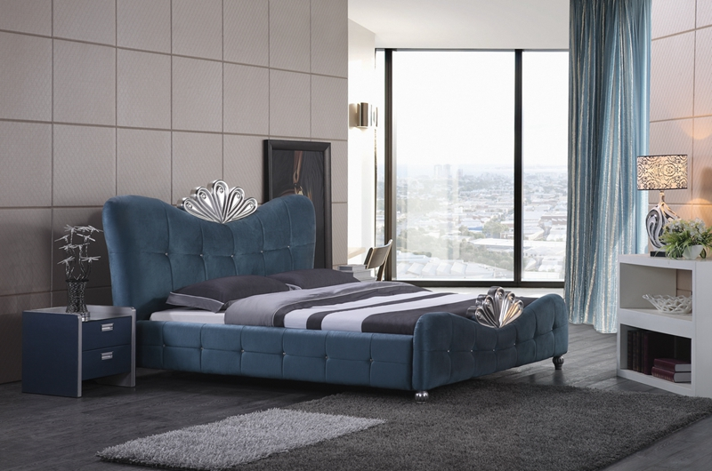 diamond tufted French contemporary modern blue velvet fabric sleeping bed King size bedroom furniture Made in China diamond tufted french contemporary modern leather sleeping bed king size bedroom furniture made in china