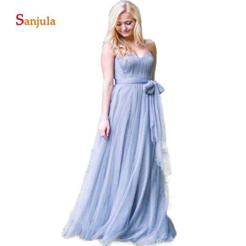 Sweetheart A-Line   Bridesmaid     Dresses   Pleats Cheap Wedding Party   Dresses   Tulle Waist Straps vestido de fiesta largo D285