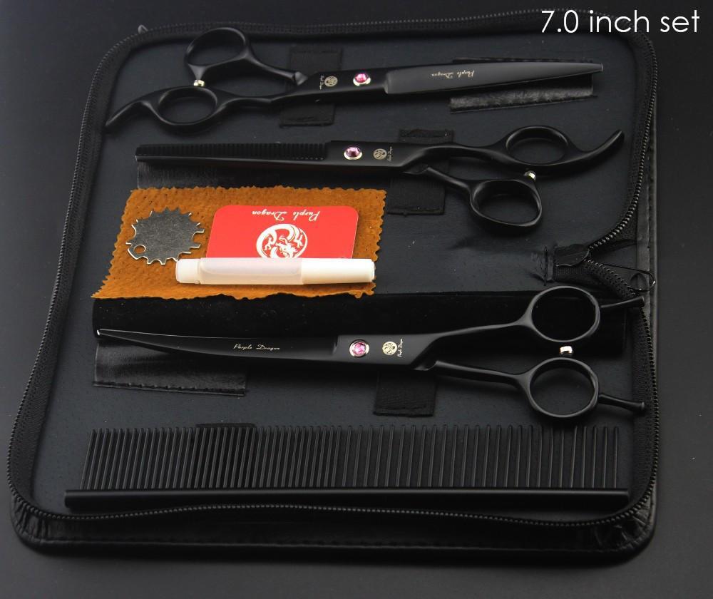 "Purple Dragon Professional Pet Grooming Scissors Set 7"" 8"" Straight+Thinning+Curved Scissors Cat Dog Shears Hair Cutting Tools 2"