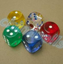 40pcs 25MM Transparent Poker Chips dice Six Sided Spot Fun Board game Dice D&D RPG Games Party Gambling Game Dices