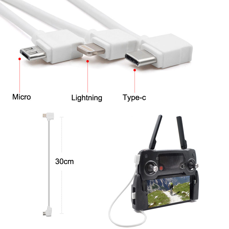 Micro-USB-Fit-IOS-Type-c-OTG-Data-Cable-Line-10cm-30cm-For-D3JI-Mavic-2