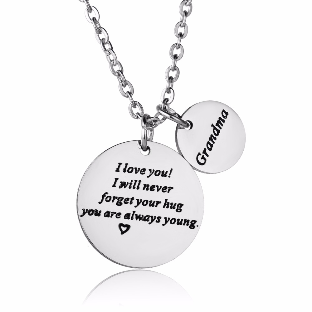 39c7dd01c Fashion Grandma Necklaces Stainless Steel Pendant Love NANA Grandmother  Necklace For Family Grandson Granddaughter Jewelry Gifts