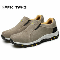Men Leisure Steel Toe Cap Work Safety Shoes Large Size Slip On Cow Suede Leather Puncture