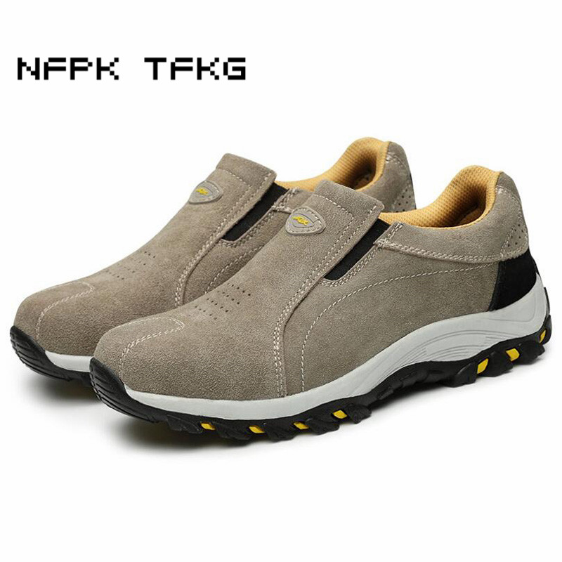 men leisure steel toe cap work safety shoes large size slip-on cow suede leather puncture proof high quality security boots malemen leisure steel toe cap work safety shoes large size slip-on cow suede leather puncture proof high quality security boots male