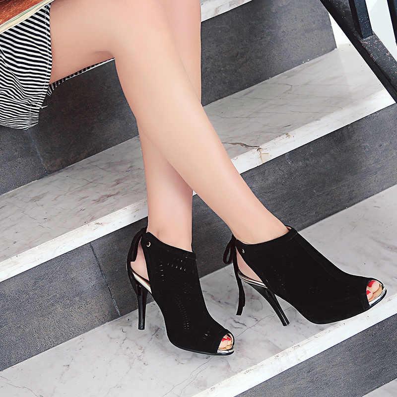 Odetina 2019 ยี่ห้อผู้หญิงส้นสูง Gladiator ฤดูร้อนรองเท้า Lace Up รองเท้าส้นสูง Slingback รองเท้าแตะ Peep Toe ตัดขนาดใหญ่ 32-44