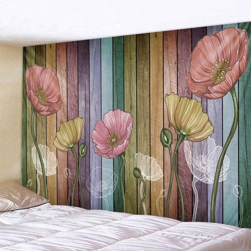 XIANYUNHE 3D Wood Flower Print Tapestry Mandala Boho Round Beach Towel Toalla Sunblock Blanket Bohemian Yoga Mat