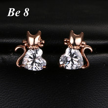 Be8 Brand Cat Shape AAA Cubic Zirconia Sparkling Fashion Stud Earring For Women White Gold Color Love Heart CZ Elegant Gift E831(China)