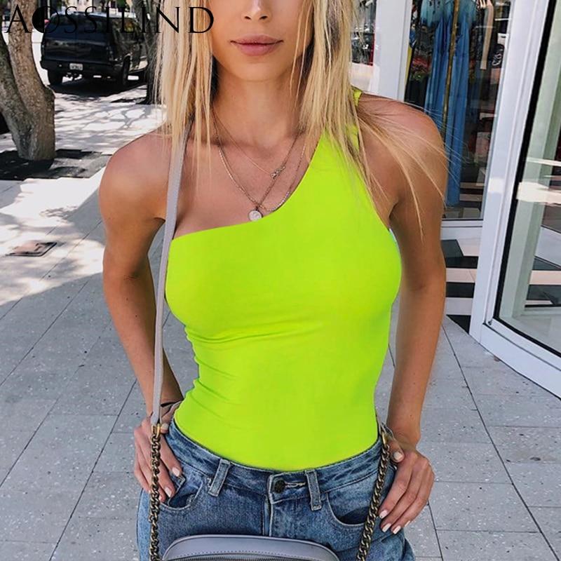 AOSSILIND Neon Green Sexy One Shoulder Backless Skinny Bodysuit Women 2019 Summer Rompers Bodysuits Ladies Fashion Streetwear
