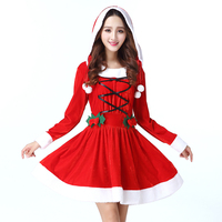 UPHYD Merry Christmas Costume Women Snowman Lolita Dresses Red Velvet Fur Cosplay Costumes Adult Christmas Clothing D122