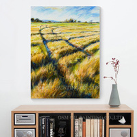 Skilled Artist Handmade High Quality Abstract Landscape Wheat Field Oil Painting on Canvas Beautiful Country Landscape Painting